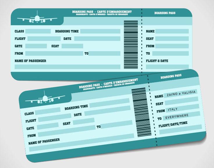 biglietti aereo zaino e valigia